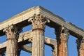 Corinthian columns details of temple of olympian zeus in athens Stock Photos