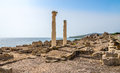 Corinthian columns and ruins of ancient Tharros in Sardinia Royalty Free Stock Photo