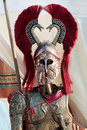 Corinthian helmet and uniform breastplate of a trojan spartan greek soldier Stock Images