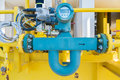 Coriolis flow meter or mass flow meter for measurement of oil and gas fluids quantity. Royalty Free Stock Photo
