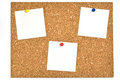 Cork board and blank notes. Stock Photos