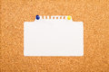 Cork board with blank paper pinned up Royalty Free Stock Photography