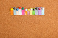 Cork board and colorful heading for twelve letter word with copyspace a Royalty Free Stock Images