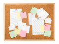 Cork board with notes isolated Royalty Free Stock Photos