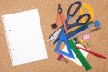 Cork board with stationary various on a background Royalty Free Stock Image
