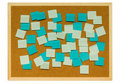 Cork board with sticky notes Royalty Free Stock Images