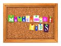 Cork bulletin or message board management tips concept letters attached to a with thumbtacks d render Stock Images