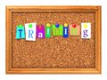 Cork bulletin or message board training concept letters attached to a with thumbtacks d render Stock Images