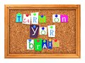 Cork bulletin or message board turn on your brain concept letters attached to a with thumbtacks d render Royalty Free Stock Photography