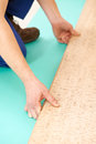 Cork flooring work Royalty Free Stock Images