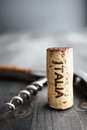 Cork italia and corkscrew selective focus Stock Photography
