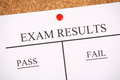 Cork notice board exam results bulletin two columns success failure Royalty Free Stock Photography