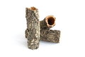 Cork oak rind isolated white Stock Image