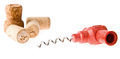 Cork screw and cork on a white background Stock Image