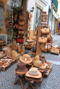 Cork souvenirs in evora portugal april beautiful crafted goods outside the storefronts along the busiest tourism souvevir shops Stock Photos