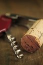 Cork wine and corkscrew Royalty Free Stock Photo