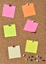 Corkboard cork board with blank pins and post it Royalty Free Stock Photo