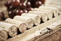 Corks of different wine years in a row red grapes in the back very shallow dof Royalty Free Stock Photos