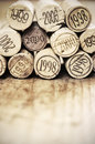 Corks on a heap with different vintage years Royalty Free Stock Images