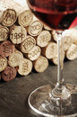 Corks and red wine Stock Photo