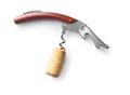 Corkscrew with cork. Royalty Free Stock Photo