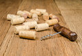 corkscrew for open wine bottle on wooden background Royalty Free Stock Photo