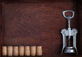 Corkscrew and a row of identical wine corks into dark box wood Royalty Free Stock Images