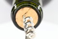 A corkscrew with wine bottle Royalty Free Stock Photo