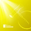 Corkscrew on yellow light background vector illustration Stock Photos