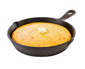 Corn bread in iron skillet Royalty Free Stock Photo