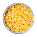 Corn in can on a white background Stock Photo