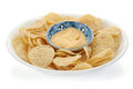 Corn chips and dip studio isolated on white background Stock Photos