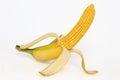 Corn cob with banana skin photo manipulation Royalty Free Stock Image