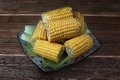 Corn on the cob a plate Royalty Free Stock Photo