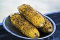 Corn on the cob roasted metal plate Stock Images