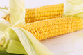 Corn cobs isolated on gray background Royalty Free Stock Images