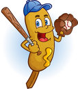 Corn dog baseball cartoon character a smiling player with a bat cap and catchers mit Royalty Free Stock Images