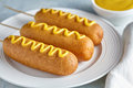 Corn dog traditional American corndog junk food deep fried hotdog sausage snack with mustard Royalty Free Stock Photo