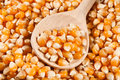 Corn dry kernels closeup spoon wooden Royalty Free Stock Images