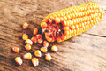 Corn ear of on wooden table Stock Photography