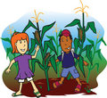 Corn Field Kids Royalty Free Stock Photo