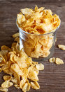 Corn flake glass of on wood Stock Images