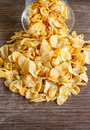 Corn flake glass of on wood Stock Photos