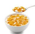 Corn flakes bowl of isolated on white Stock Photo