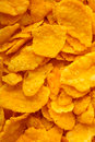 Corn flakes breakfast meal as food background closeup of many morning diet and healthy nutrition Stock Photo