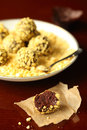 Corn flakes chocolate truffles on a dark background Royalty Free Stock Photo