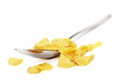 Corn flakes cornflakes and spoon isolated close up Stock Images