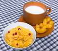Corn flakes  and cup of yogurt Stock Photography