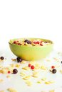 Corn flakes with currants berries Stock Images