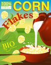 Corn flakes label. Milk pouring from the jug a plate. Background Royalty Free Stock Photo